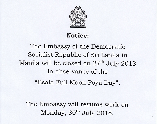Notice of Holiday