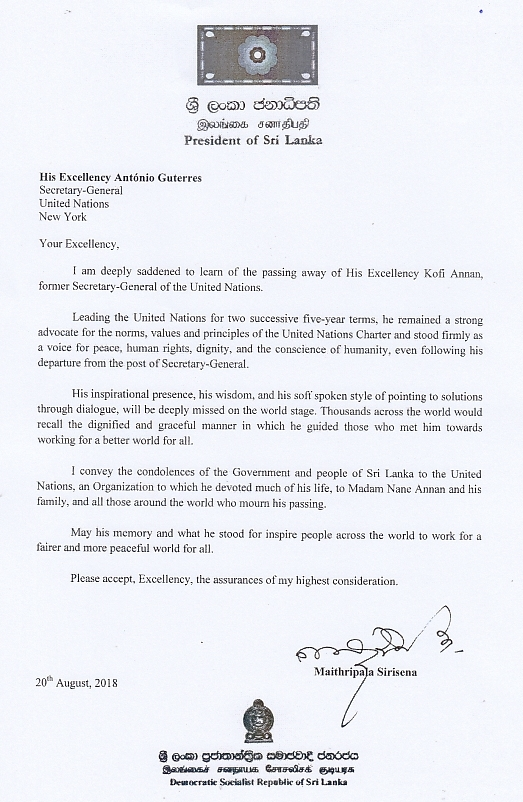 Letter from H.E. the President